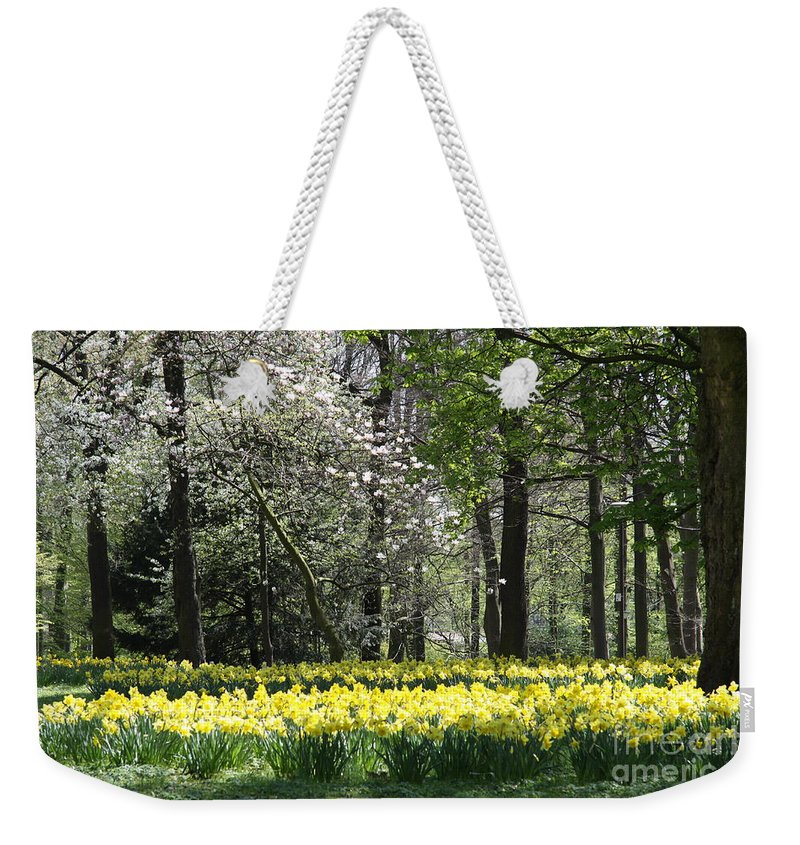 Magnolia Weekender Tote Bag featuring the photograph Magnolia And Daffodils by Christiane Schulze Art And Photography