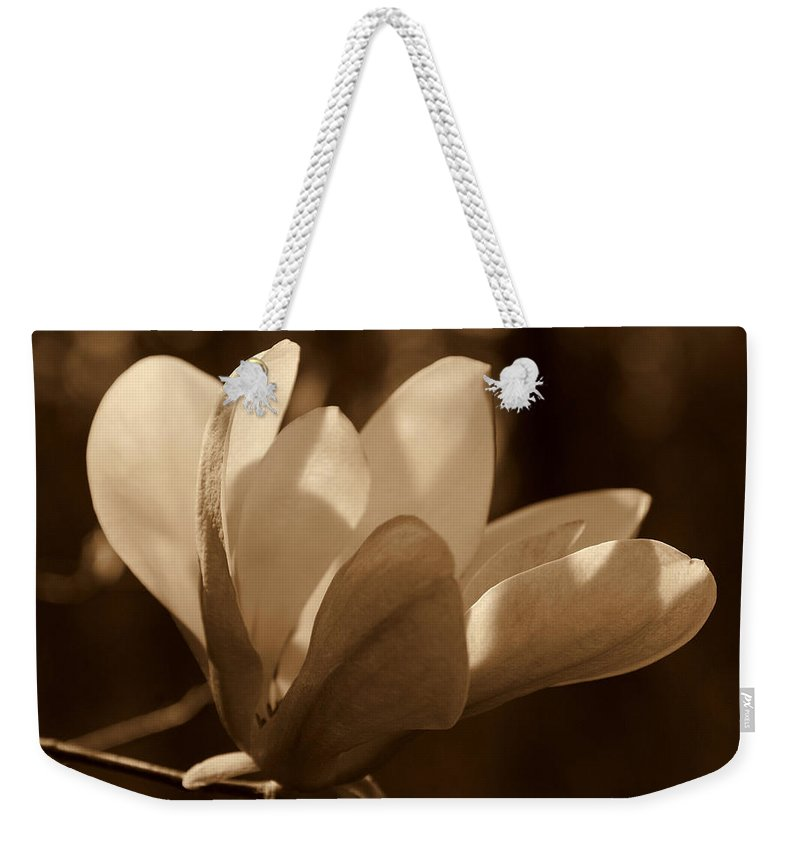 Magnolia Weekender Tote Bag featuring the photograph Magnolia Blossom Bw by Susanne Van Hulst