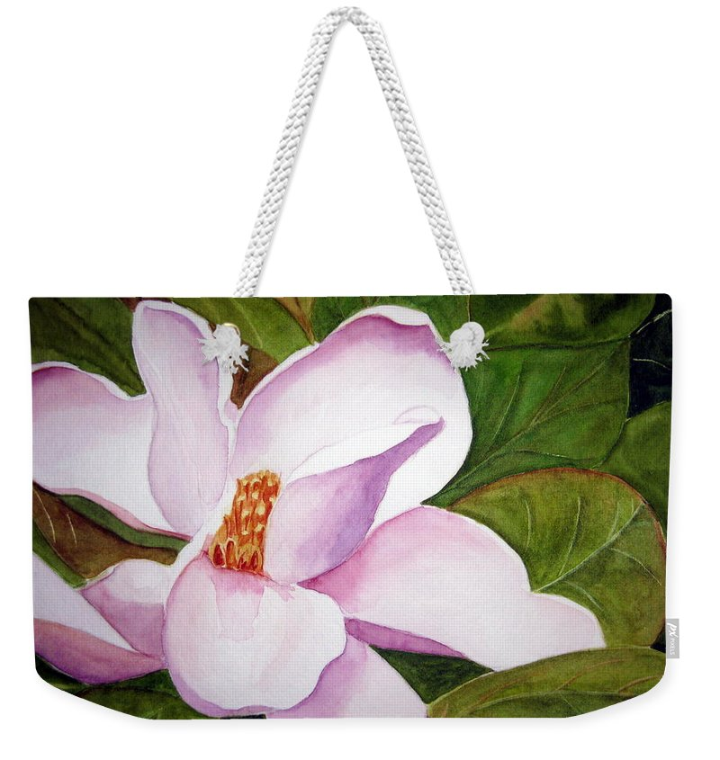 Flower Weekender Tote Bag featuring the painting Magnolia Blossom by Julia RIETZ