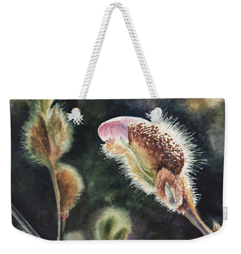 Magnolia Weekender Tote Bag featuring the painting Magnolia Bud By Irina Sztukowski by Irina Sztukowski