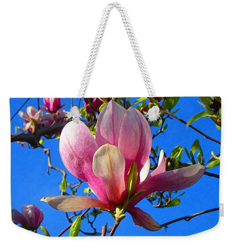 Magnolia Weekender Tote Bag featuring the painting Magnolia Flower by Amy Vangsgard