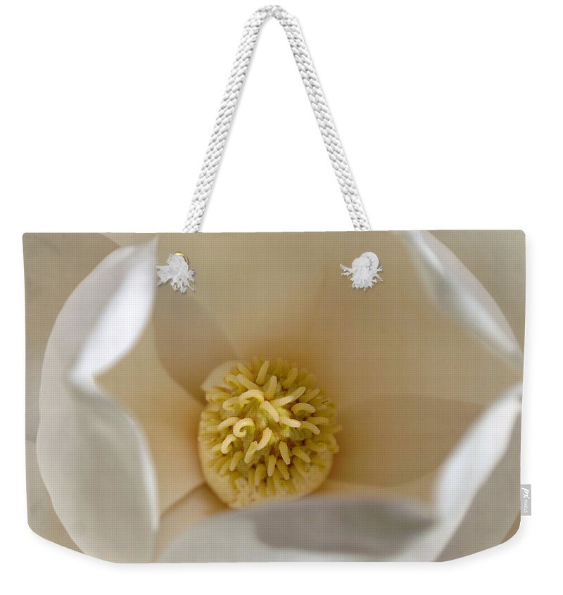 Magnolia Weekender Tote Bag featuring the photograph Magnolia Flower by Jill Reger