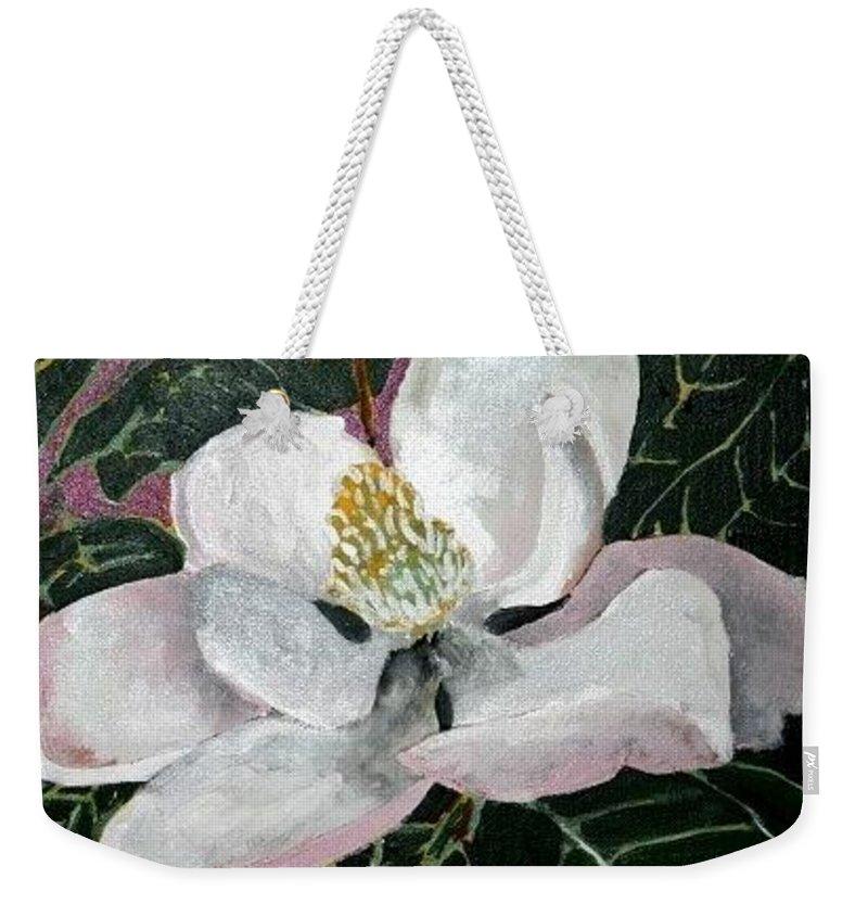 Acrylic Weekender Tote Bag featuring the painting Magnolia Flower Painting by Derek Mccrea