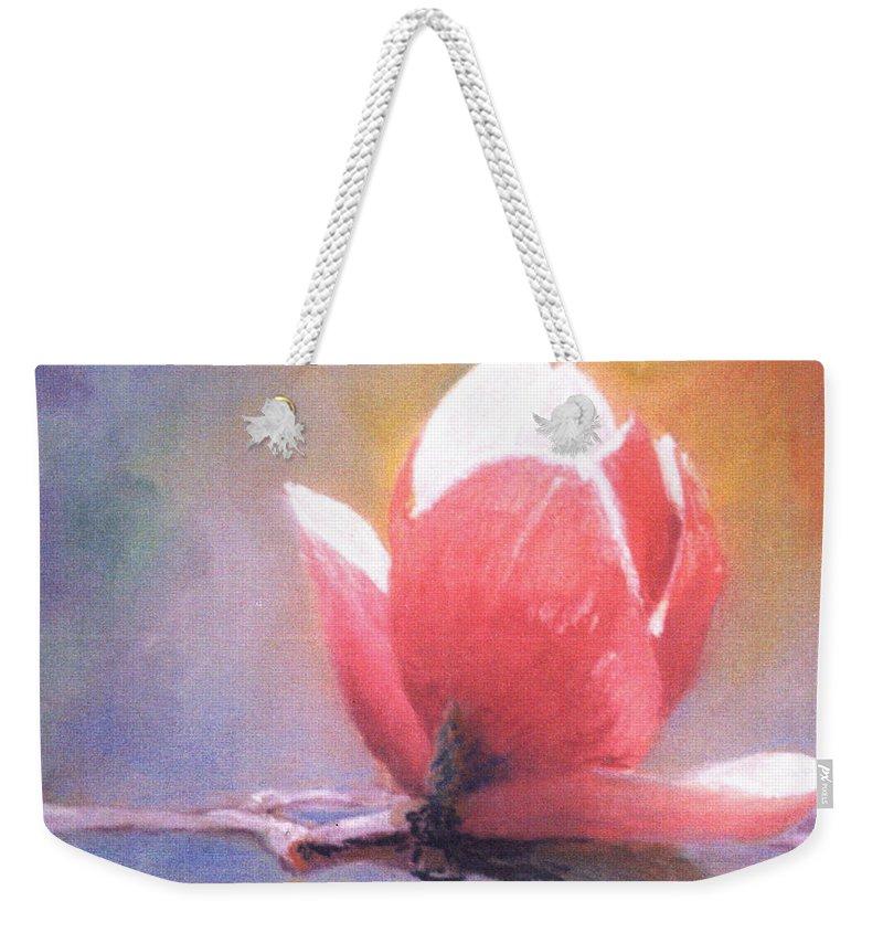 Magnolia Flower Weekender Tote Bag featuring the pastel Magnolia by Pat Snook