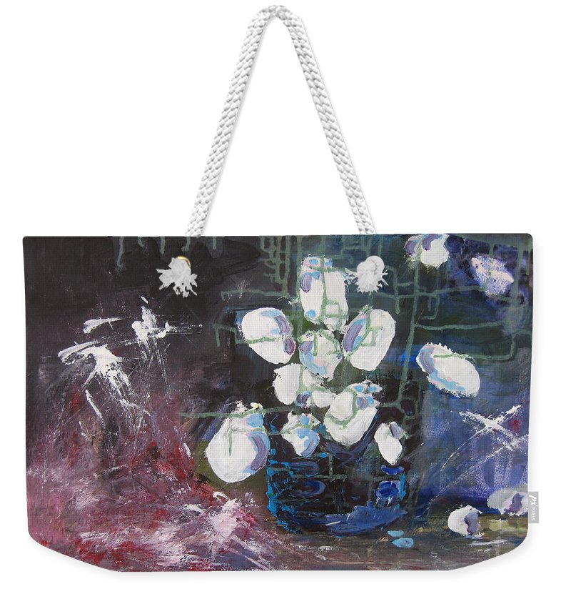 Abstract Paintings Weekender Tote Bag featuring the painting Magnolia by Seon-Jeong Kim