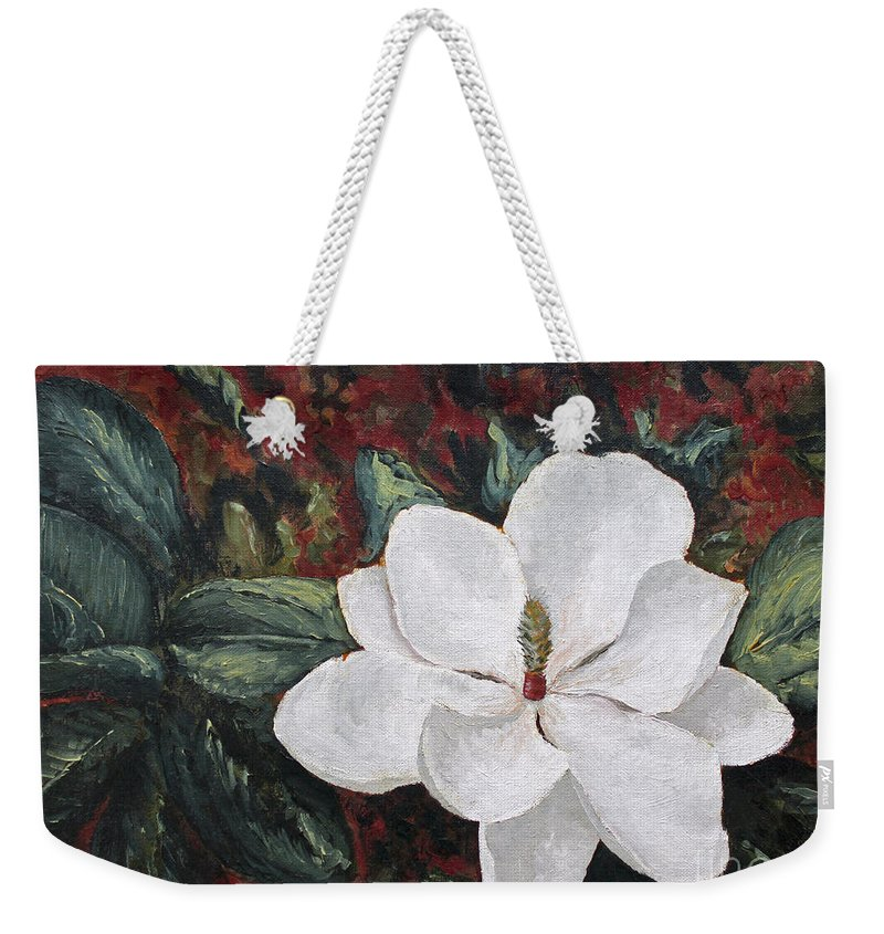 Flower Weekender Tote Bag featuring the painting Magnolia by Todd A Blanchard