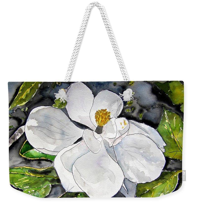 Magnolia Weekender Tote Bag featuring the painting Magnolia Tree Flower by Derek Mccrea
