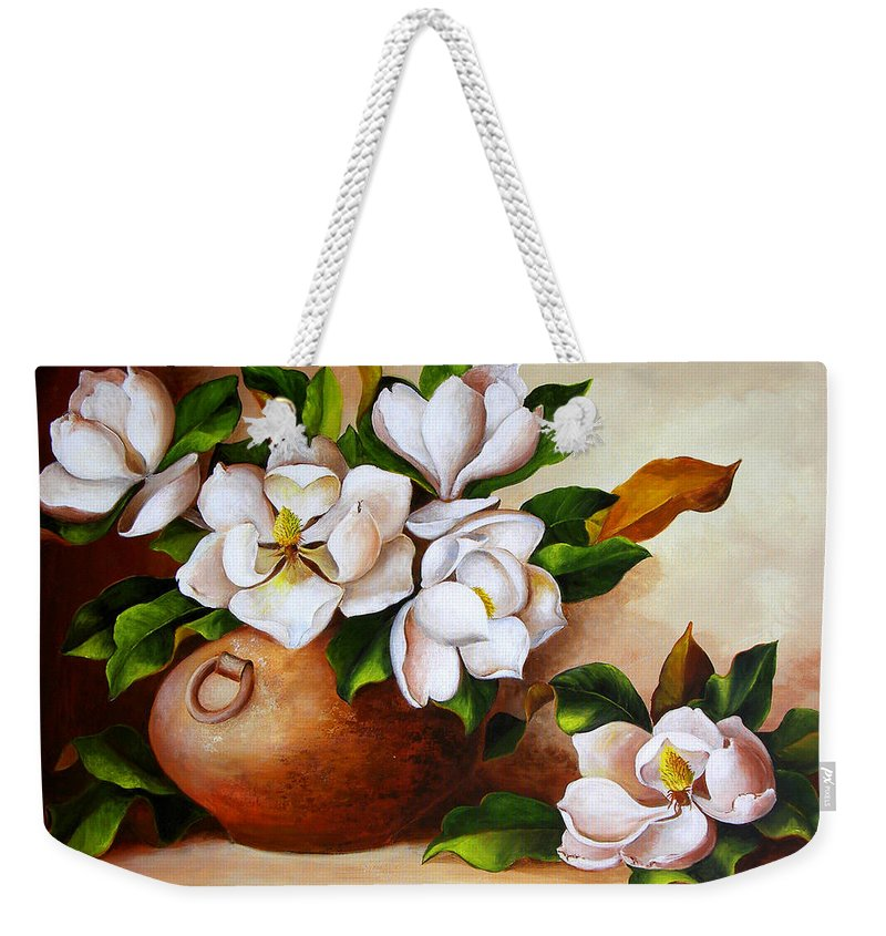 Clay Pot Weekender Tote Bag featuring the painting Magnolias In A Clay Pot by Dominica Alcantara