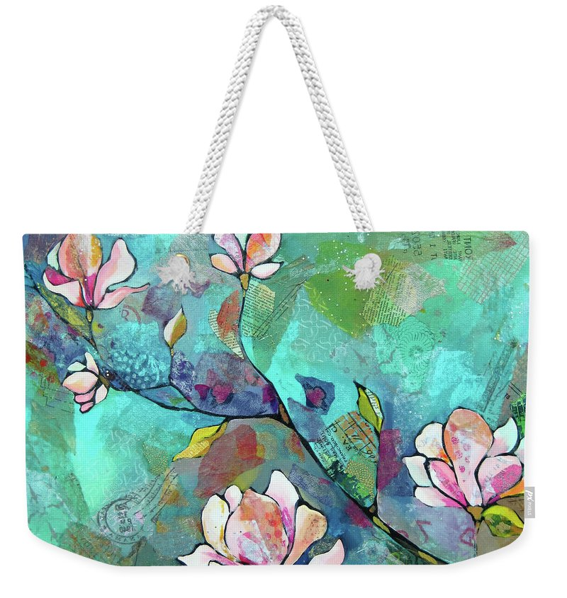 Magnolias Weekender Tote Bag featuring the painting Magnolias by Shadia Derbyshire