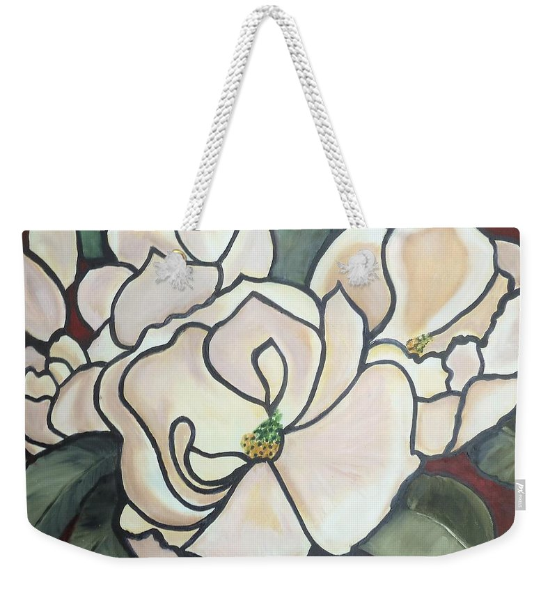 Flowers Weekender Tote Bag featuring the painting Magnolias Under Glass by Martha Mullins
