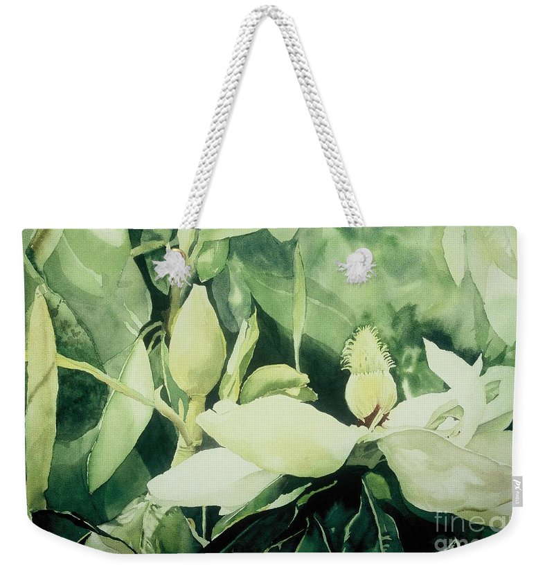 Magnolias Weekender Tote Bag featuring the painting Magnolium Opus by Elizabeth Carr
