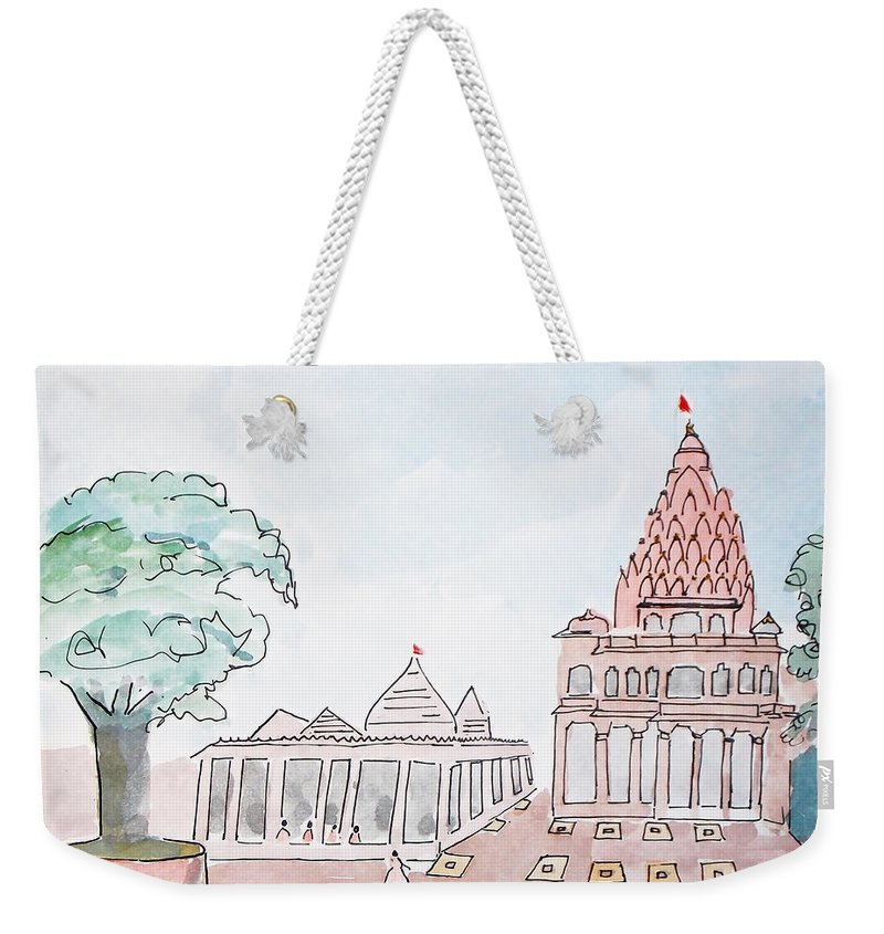 Mahakaleshwar Weekender Tote Bag featuring the painting Mahakaleshwar Jyotirlinga by Keshava Shukla