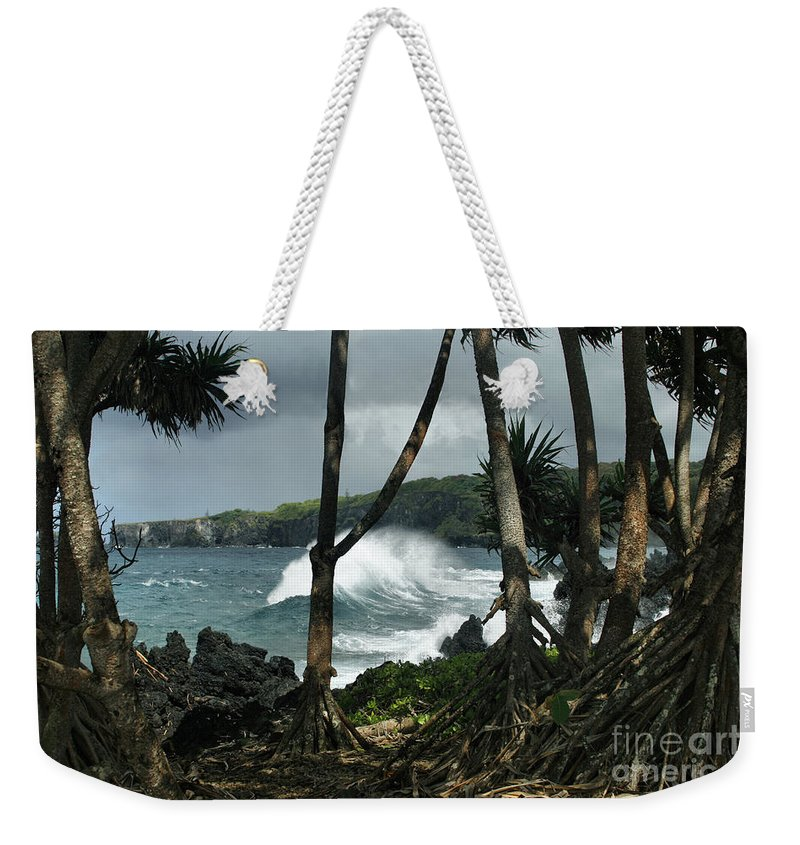 Aloha Weekender Tote Bag featuring the photograph Mahama Lauhala Keanae Peninsula Maui Hawaii by Sharon Mau