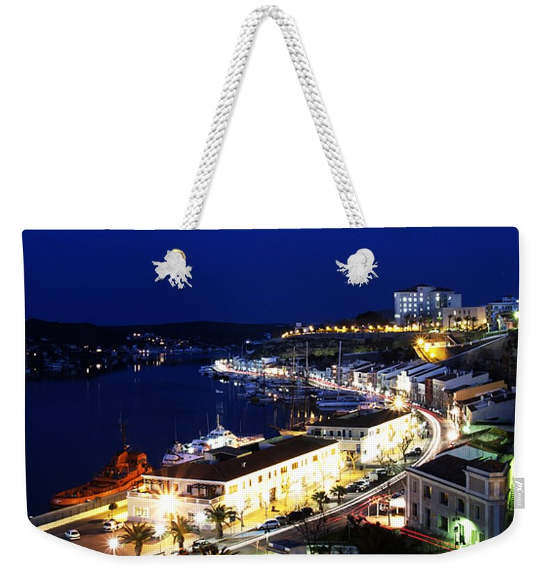 Mediterranean Weekender Tote Bag featuring the photograph Mahon Harbour At Night by Pedro Cardona Llambias