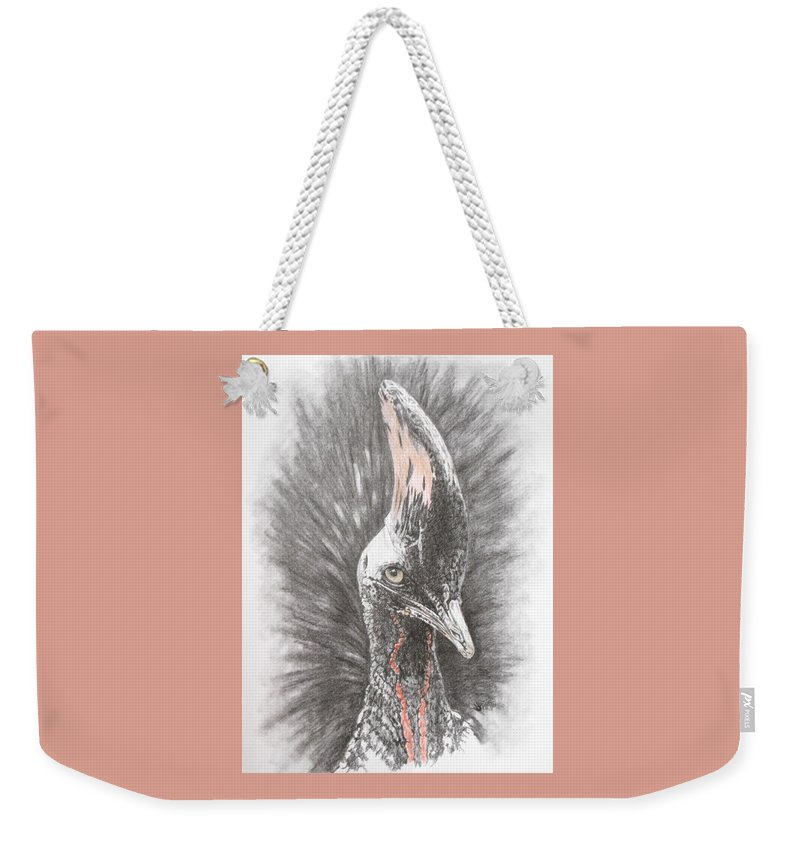 Cassowary Weekender Tote Bag featuring the mixed media Mahvelous Simply Mahvelous by Barbara Keith