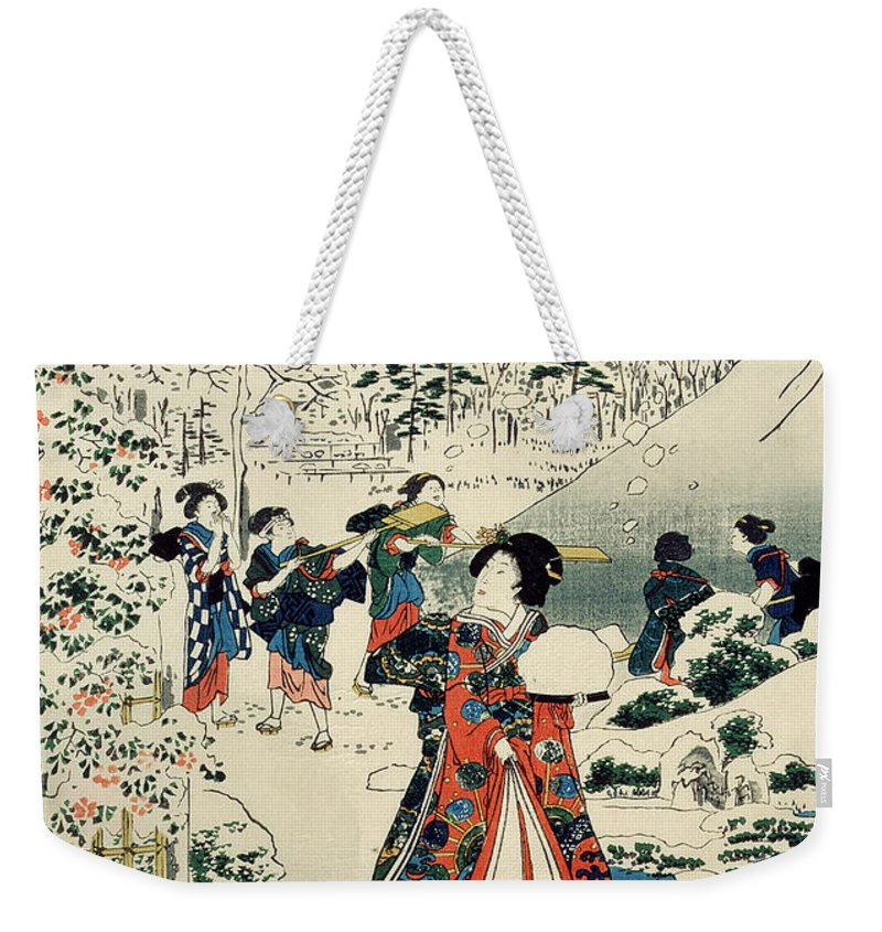 Maids In A Snow-covered Garden Weekender Tote Bag featuring the painting Maids In A Snow Covered Garden by Hiroshige