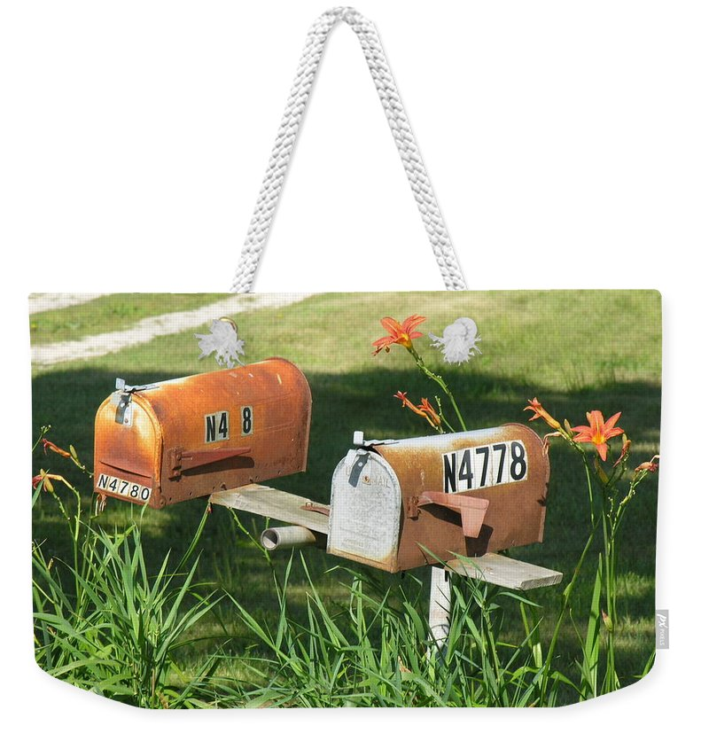 Mailboxes Weekender Tote Bag featuring the photograph Mail Boxes by Diane Greco-Lesser