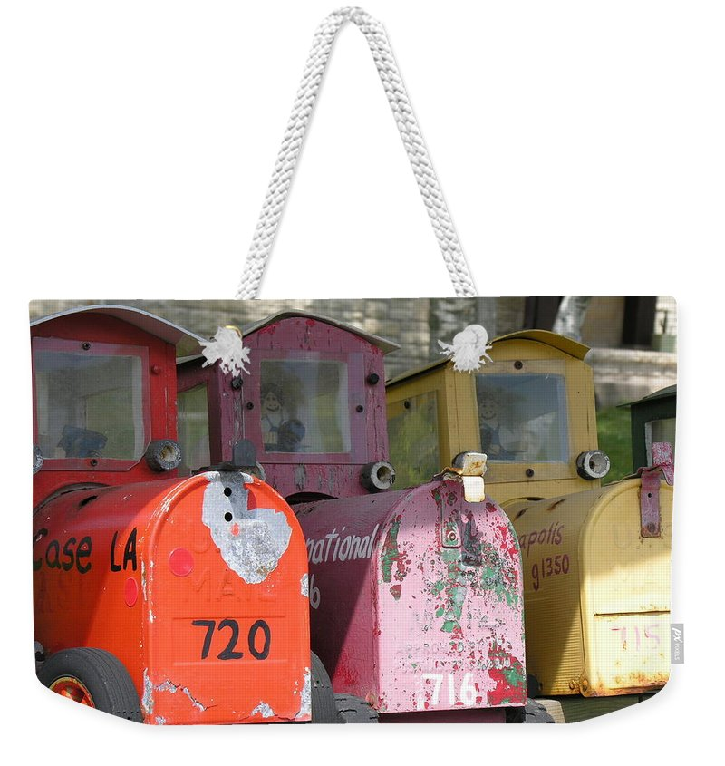 Mail Weekender Tote Bag featuring the photograph Mail Boxes Wi by Diane Greco-Lesser