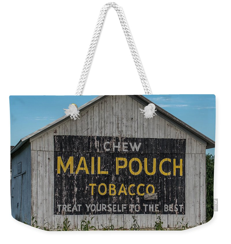 Mail Weekender Tote Bag featuring the photograph Mail Pouch Tobacco Barn by Paul Freidlund