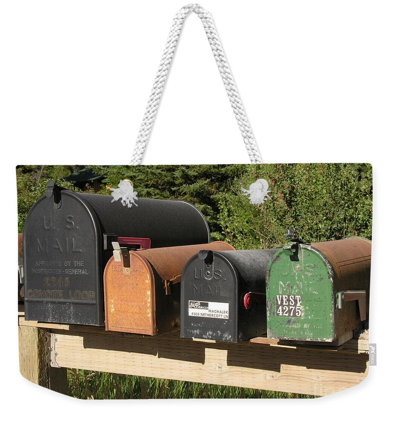 Mail Weekender Tote Bag featuring the photograph Mail Seakers by Diane Greco-Lesser