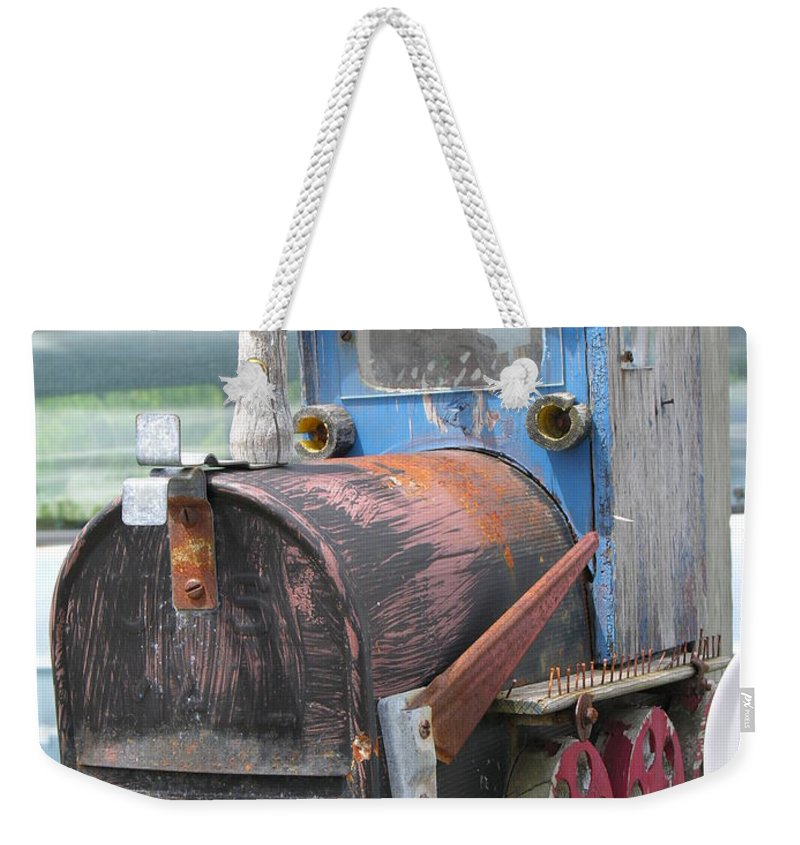 Blue Weekender Tote Bag featuring the photograph Mail Truck by Diane Greco-Lesser