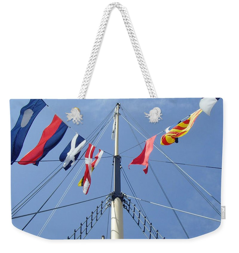 Mast Weekender Tote Bag featuring the photograph Main Mast Of Ss Great Britain At Bristol England by Bob Kemp