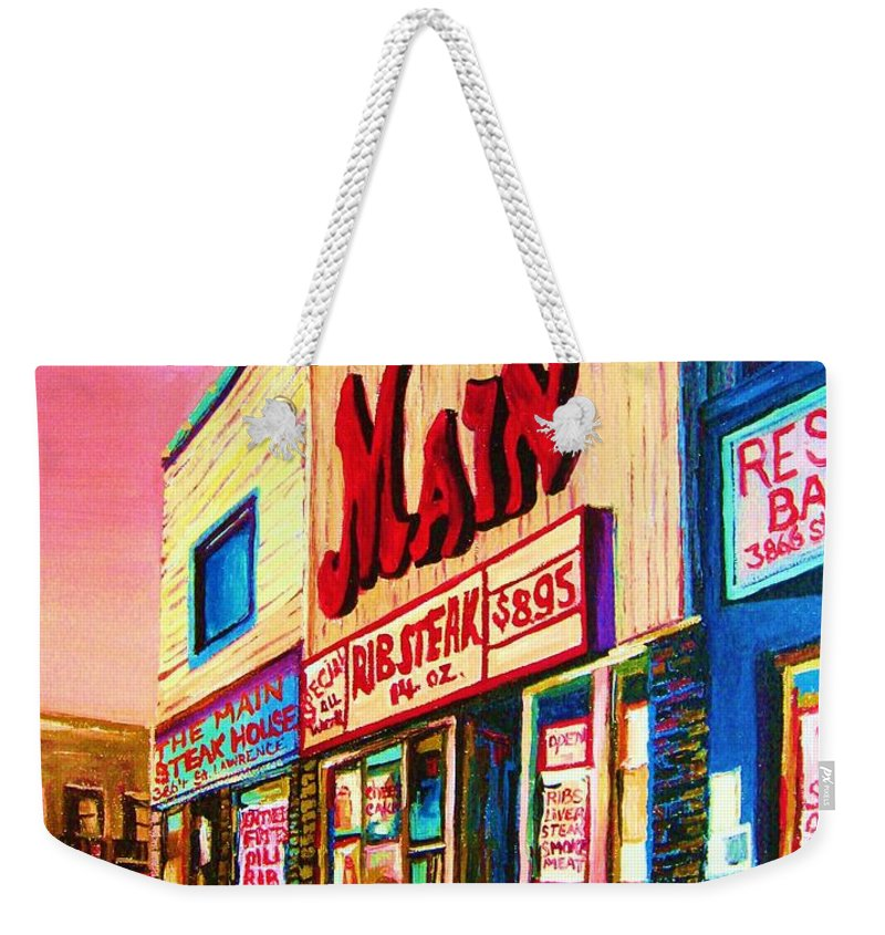 Montreal Weekender Tote Bag featuring the painting Main Steakhouse Blvd.st.laurent by Carole Spandau