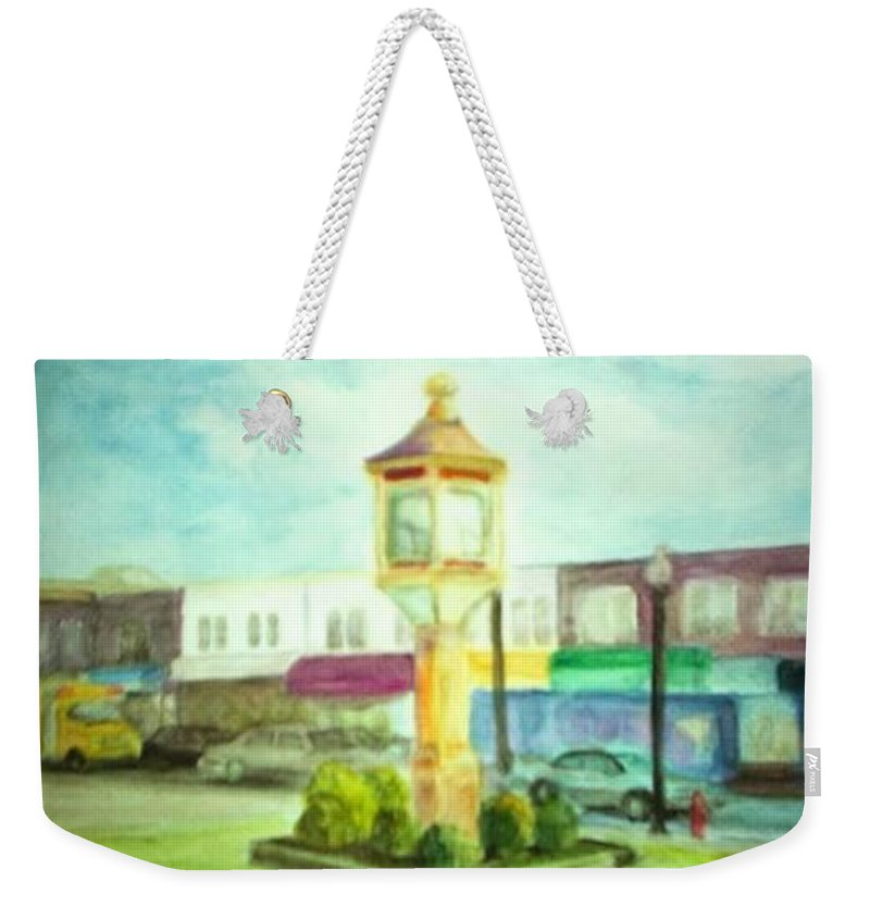 Clock Weekender Tote Bag featuring the painting Main Street by Sheila Mashaw