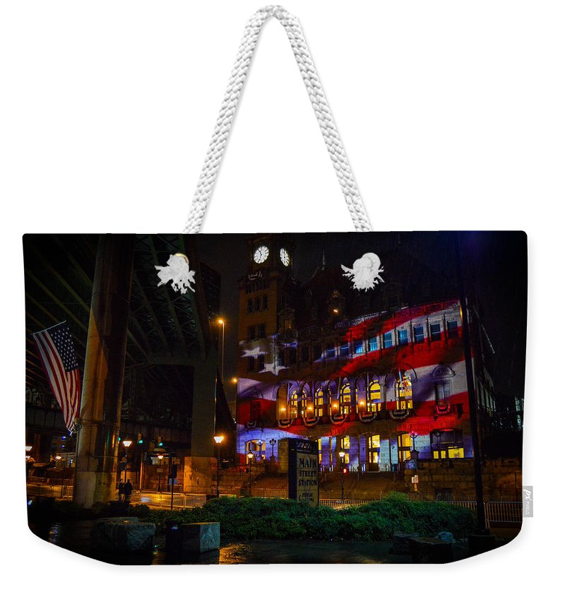 Richmond Weekender Tote Bag featuring the photograph Main Street Station At Night by Aaron Dishner