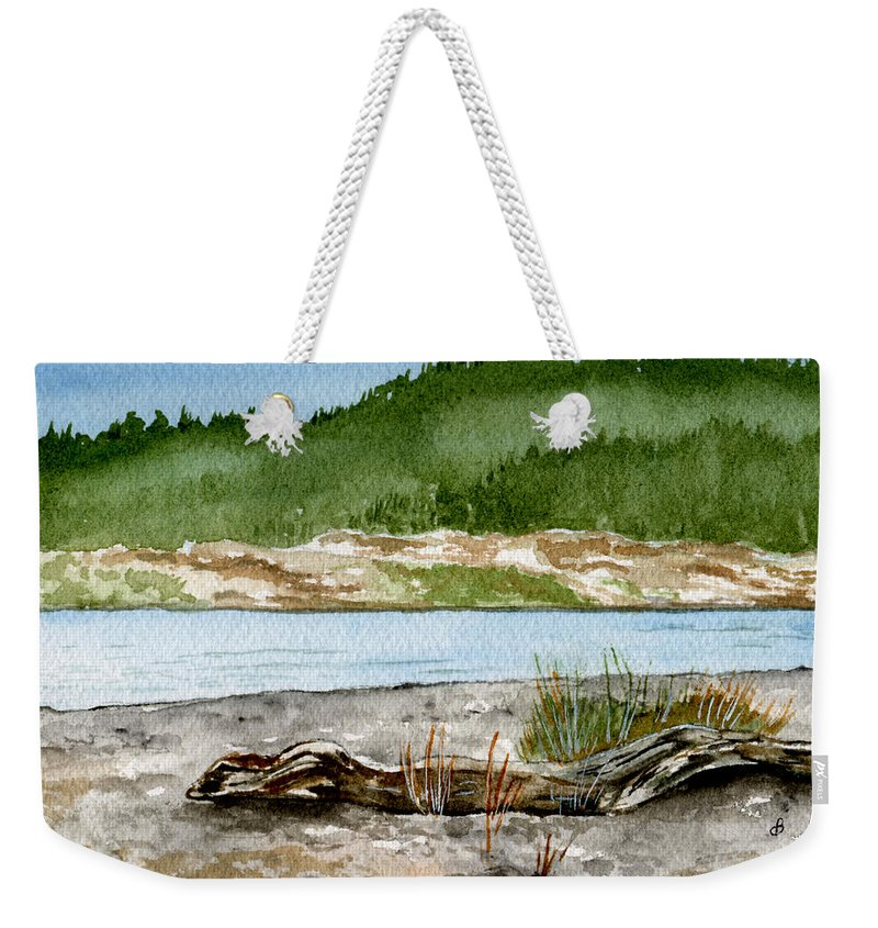 Landscape Weekender Tote Bag featuring the painting Maine Beach Wood by Brenda Owen