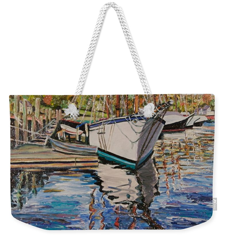 Maine Weekender Tote Bag featuring the painting Maine Coast Boat Reflections by Richard Nowak