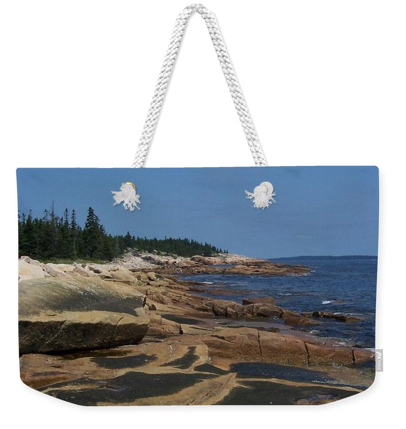 Maine Weekender Tote Bag featuring the photograph Maine Coast by Lisa Kane
