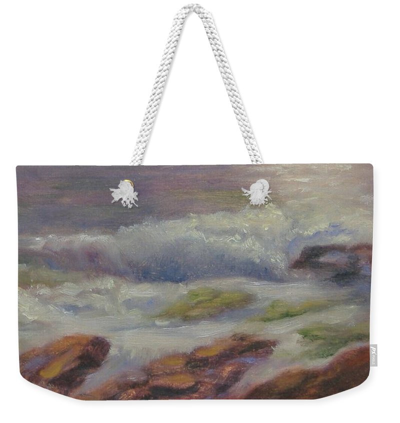 Seascape Weekender Tote Bag featuring the painting Maine Coast by Pat Snook