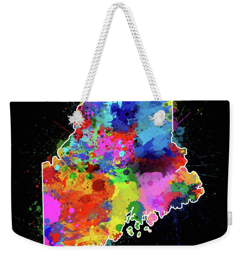 Maine Weekender Tote Bag featuring the digital art Maine Map Color Splatter 2 by Bekim M