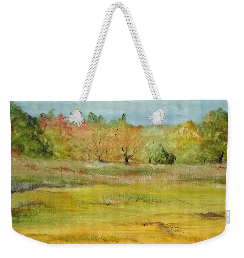 Landscape Weekender Tote Bag featuring the painting Maine Marsh by Jean Blackmer