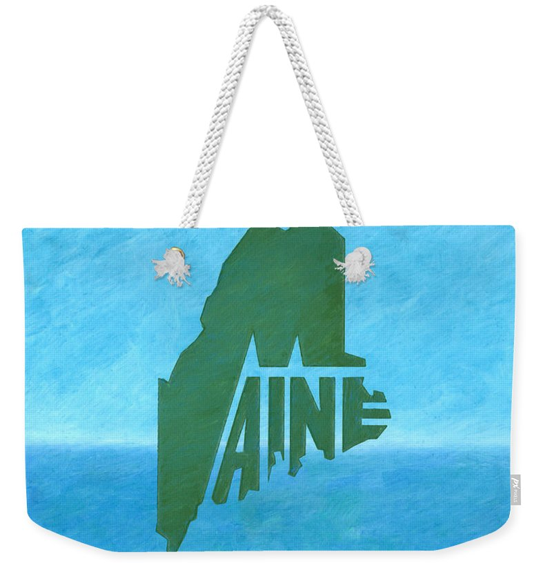 Maine Weekender Tote Bag featuring the drawing Maine Wordplay by Dominic White
