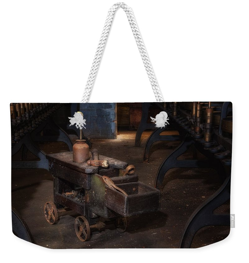Old Weekender Tote Bag featuring the photograph Maintenance Cart by Ken Curtis