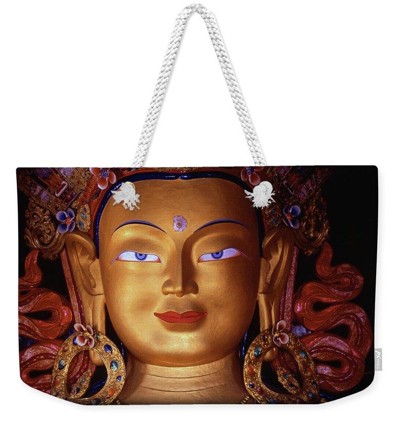 Buddha Weekender Tote Bag featuring the photograph Maitryea Buddha by Patrick Klauss