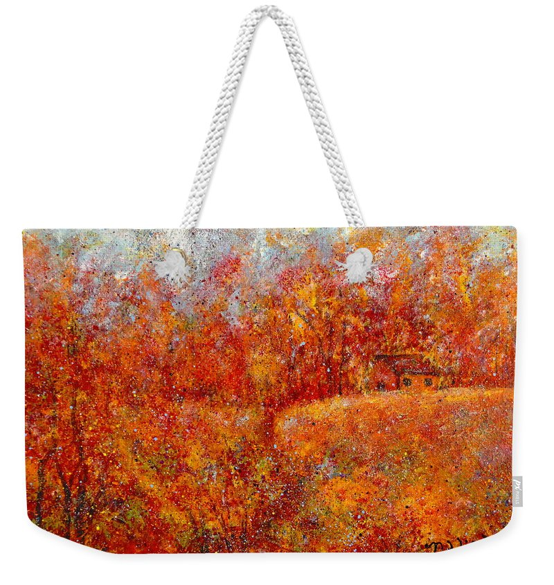 Autumn Weekender Tote Bag featuring the painting Majestic Autumn by Natalie Holland