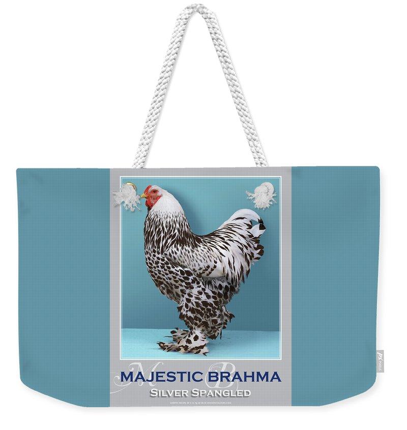 Poultry Weekender Tote Bag featuring the digital art Majestic Brahma Silver Spangled by Sigrid Van Dort