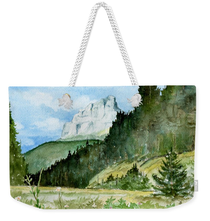 Landscape Weekender Tote Bag featuring the painting Majestic by Brenda Owen