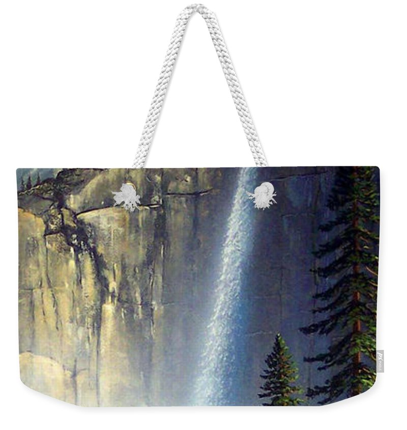 Landscape Weekender Tote Bag featuring the painting Majestic Falls by Frank Wilson
