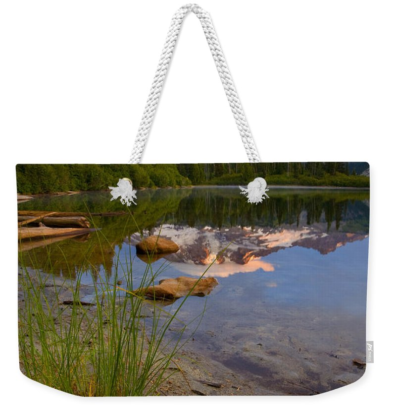 Mt. Rainier Weekender Tote Bag featuring the photograph Majestic Glow by Mike Dawson
