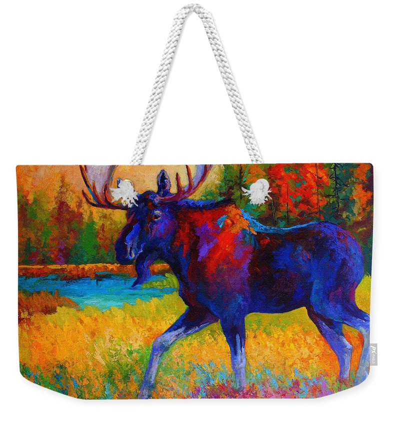 Moose Weekender Tote Bag featuring the painting Majestic Monarch - Moose by Marion Rose