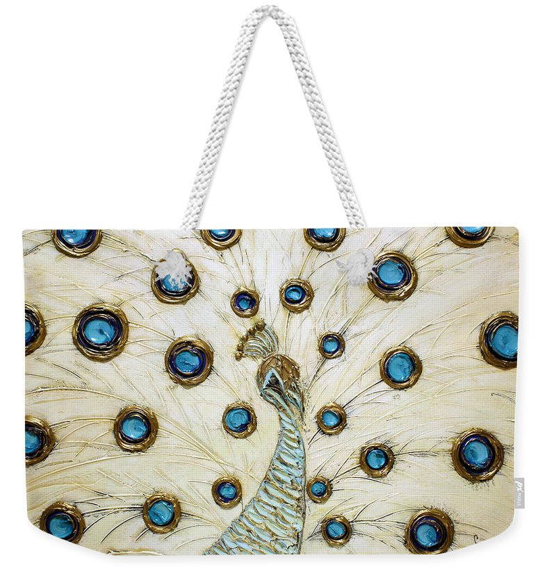 Peacock Weekender Tote Bag featuring the painting Majestic by Susanna Shaposhnikova