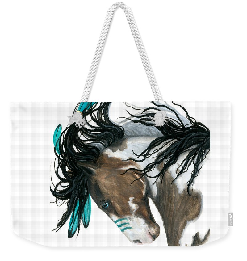 Turquoise Weekender Tote Bag featuring the painting Majestic Turquoise Horse by AmyLyn Bihrle
