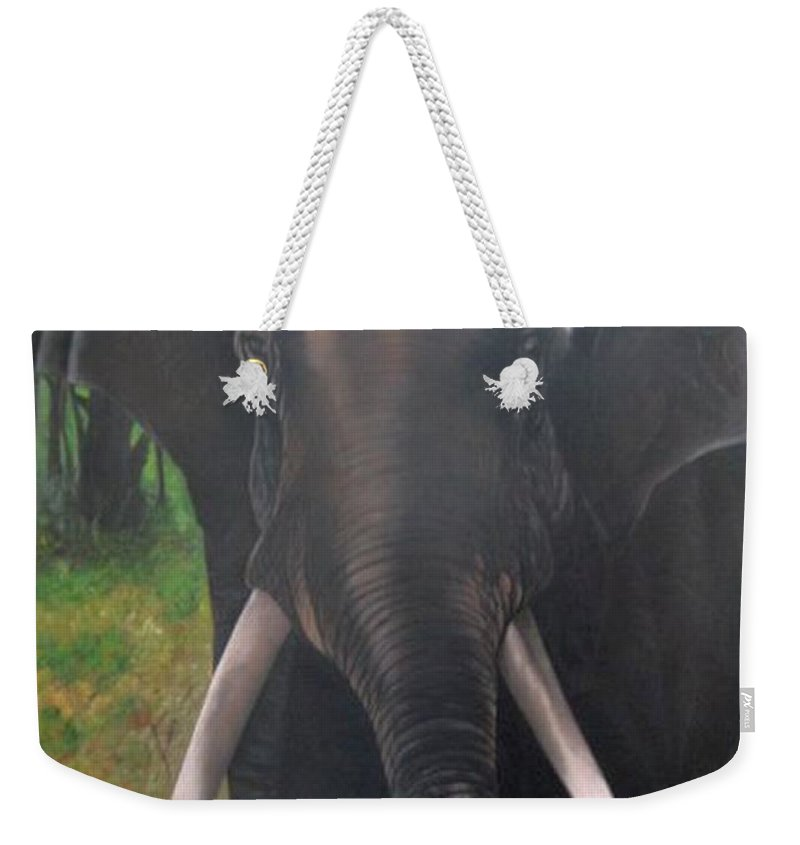 Elephant Weekender Tote Bag featuring the painting Majestic by Usha Rai