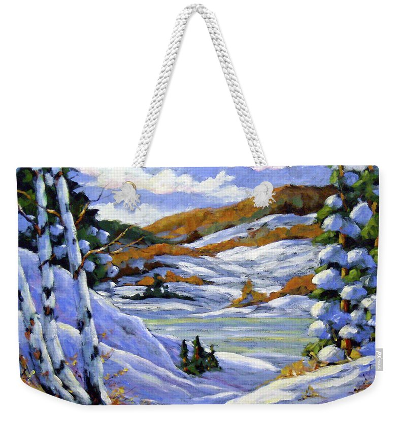 Art Weekender Tote Bag featuring the painting Majestic Winter by Richard T Pranke