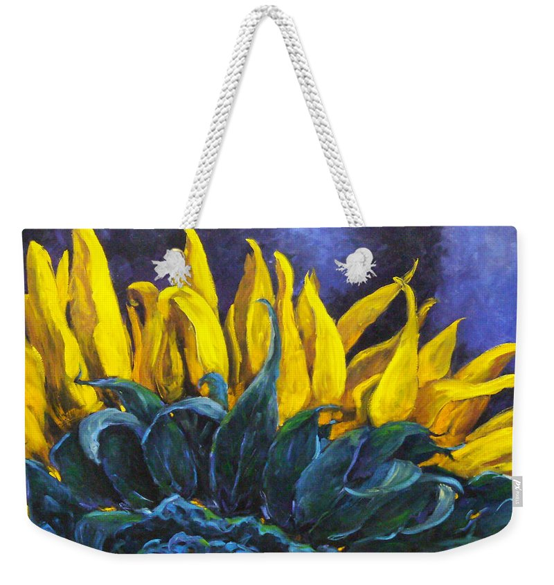Flower Weekender Tote Bag featuring the painting Majestica by Richard T Pranke