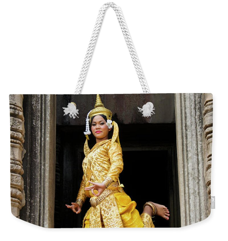 Asia Weekender Tote Bag featuring the photograph Makala Dancer In Cambodia by Michele Burgess